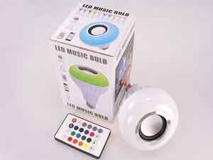 Image 4 - Bluetooth hoparlör akıllı Led ampul E27 12W Müzik Çalma Kısılabilir Kablosuz Led Lamba Renkli RGB 24 Tuşları Uzaktan Kumanda
