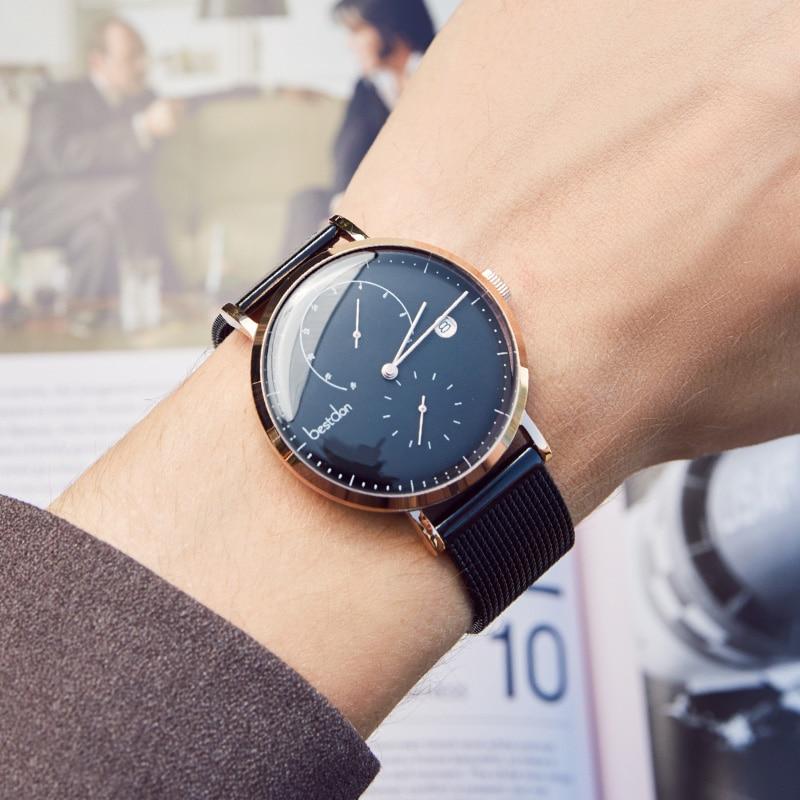 Bestdon Bauhaus Design นาฬิกาแบรนด์หรูสแตนเลสขนาดใหญ่นาฬิกาข้อมือควอตซ์แฟชั่นนาฬิกาบางพิเศษ-ใน นาฬิกาควอตซ์ จาก นาฬิกาข้อมือ บน   2