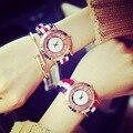 Moda D Marca de Estilo Inglaterra Tendência Ouro Rosa Nylon relógios de Pulso de Quartzo Relógio de Pulso Do Presente para Homens Mulheres Estudantes Do Sexo Feminino do Sexo Masculino