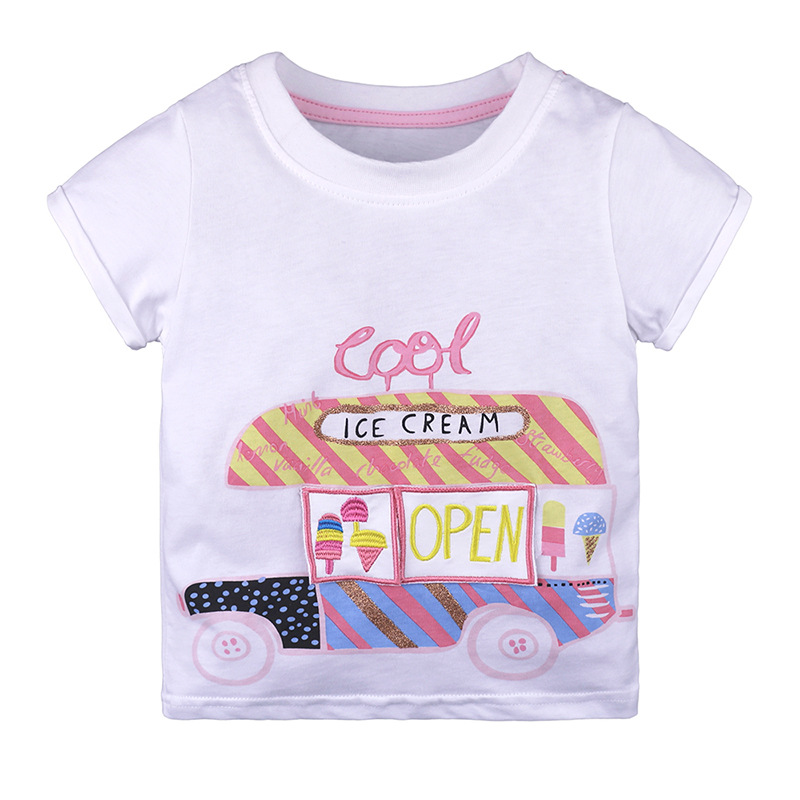 Girls T Shirts 2018 Childrens Shirt Short Sleeve Summer Top Cartoon Cotton Clothes Girl Tshirt Kid T Shirt
