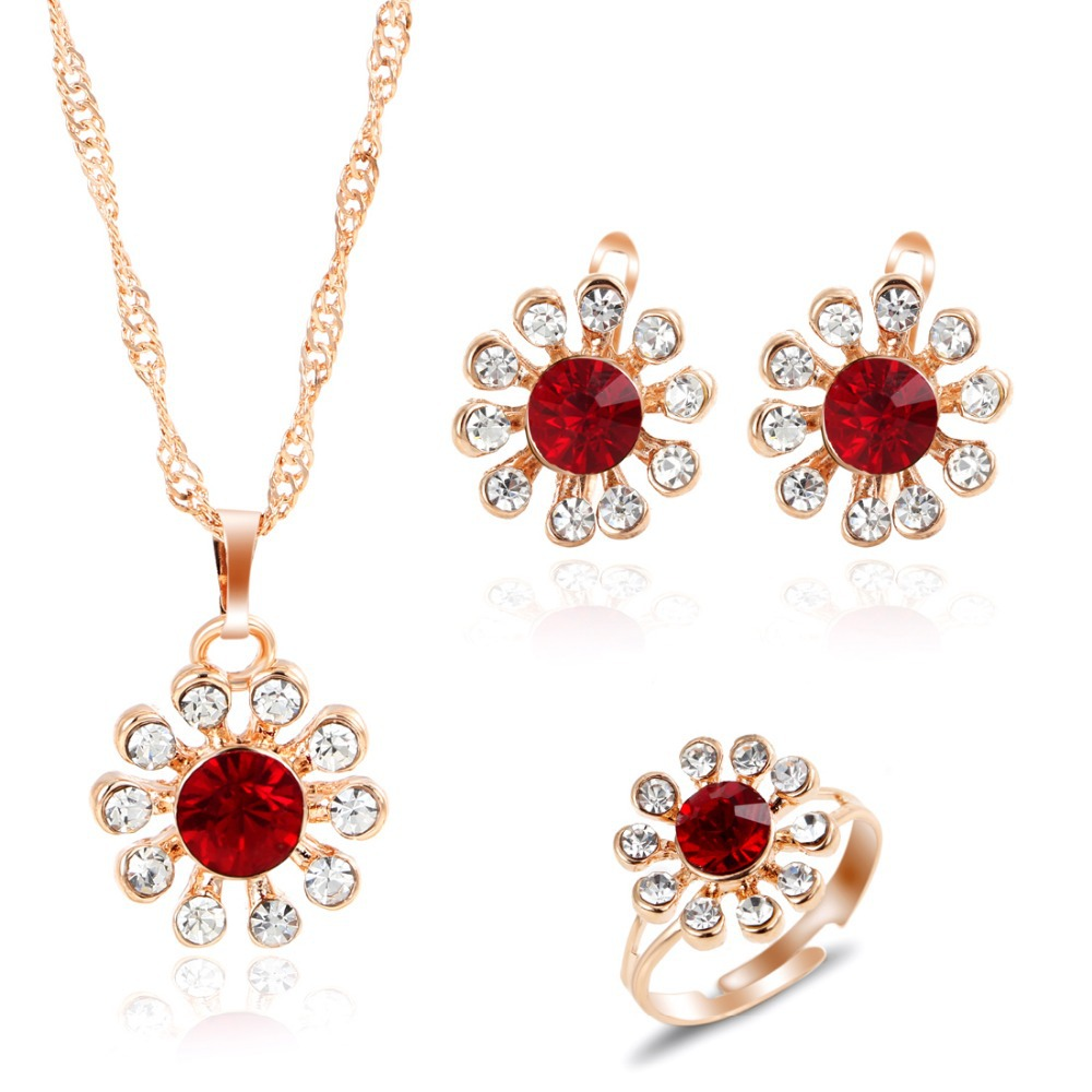 Romantic Charming Crystal Flower Earrings Necklace Ring Golden Color Jewelry Set 3pcs/set Wholesale Price
