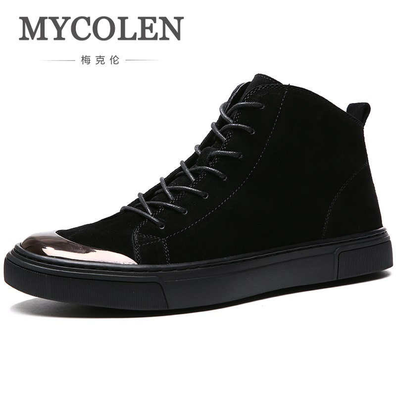 MYCOLEN New Fashion Men Autumn Winter Leather Boots Man Snow Boots Leisure Martin Boots Black High Help Warm Men's Shoes mycolen new men s winter leather ankle boots fashion brand men autumn handmade boots leisure martin autumn boots mens shoes