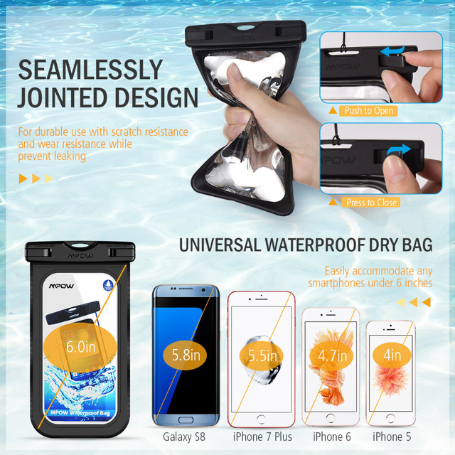 2pack Mpow PA078 IPX8 Universal Waterproof Case Pouch for iPhone XS XR Dry Bag Hiking Dirtproof Ski Snowproof Pouch for Xiaomi