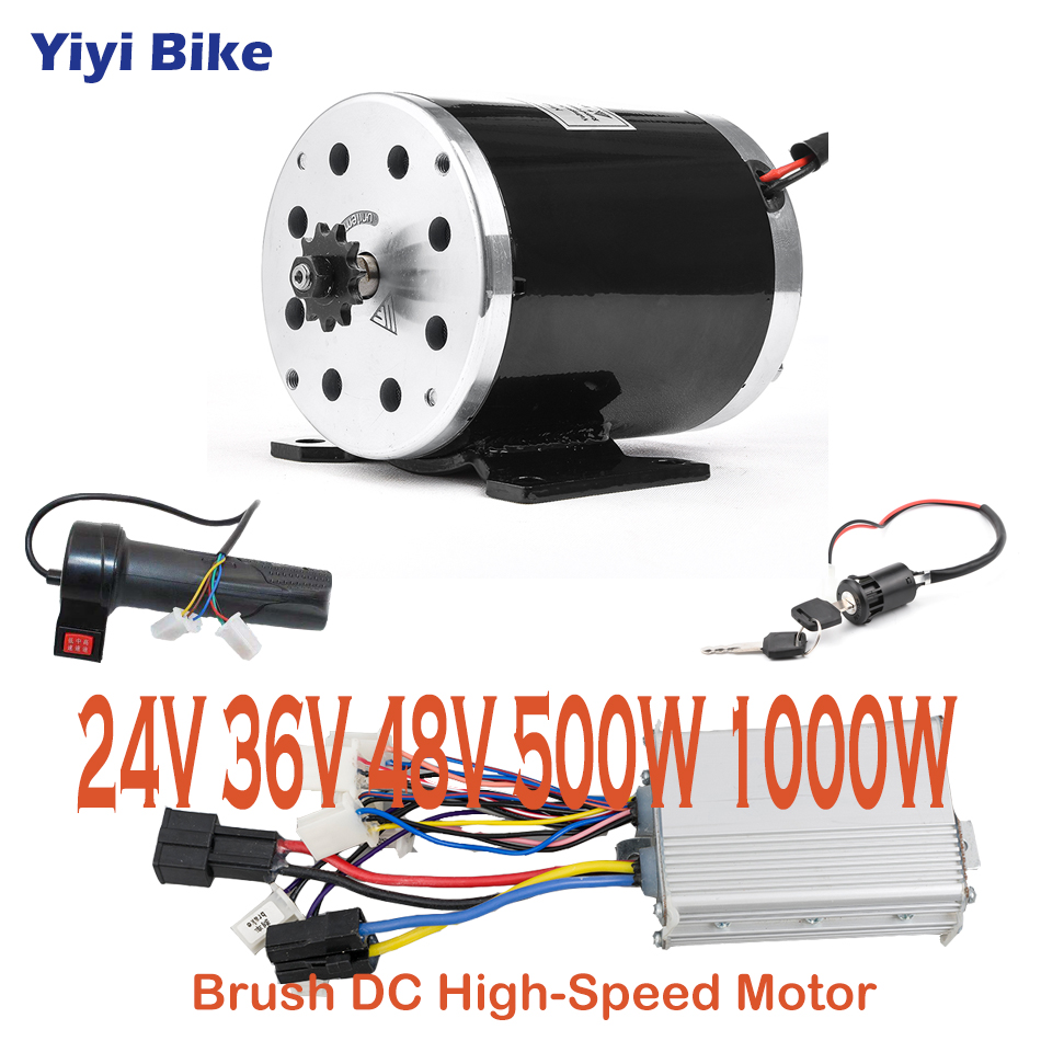 <font><b>DC</b></font> Brushed <font><b>Motor</b></font> Conversion Kit Electric Bike <font><b>24V</b></font>- 48V <font><b>500W</b></font> 1000W <font><b>Motor</b></font> Controller 3 speed Throttle bicicleta electrica plegable image