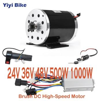 Kit de conversión de Motor cepillado para bicicleta eléctrica, controlador de Motor de 24V- 48V 500W 1000W, acelerador de 3 velocidades plegable