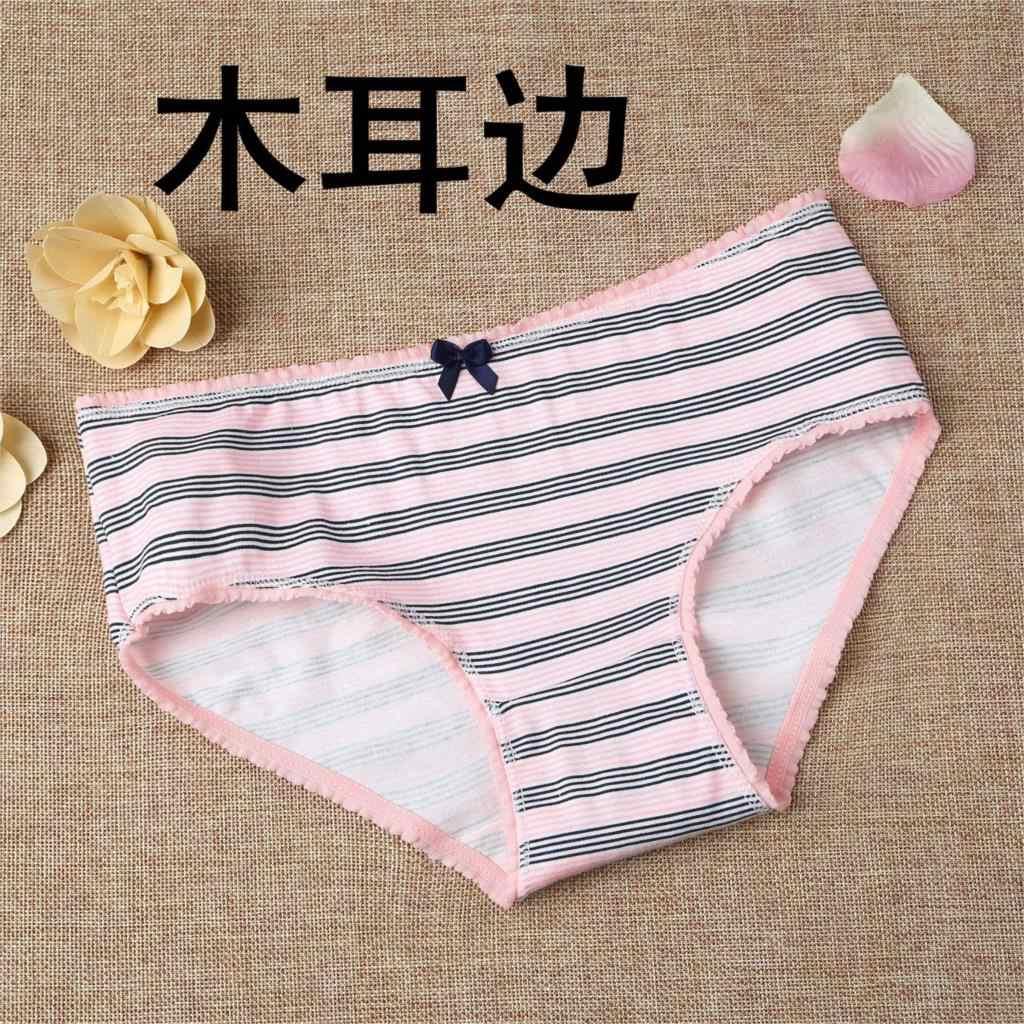 cbc158bf4c7f New 2018 Lingerie underwear women panties cotton bow letter stripe print  lace wholesale ropa interior femenina vestidos K003