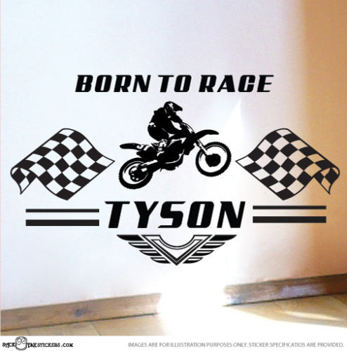 Personalize custom name born to race nursery room kids wall sticker automobile decals bike wall stickers for kids room d603 in wall stickers from home