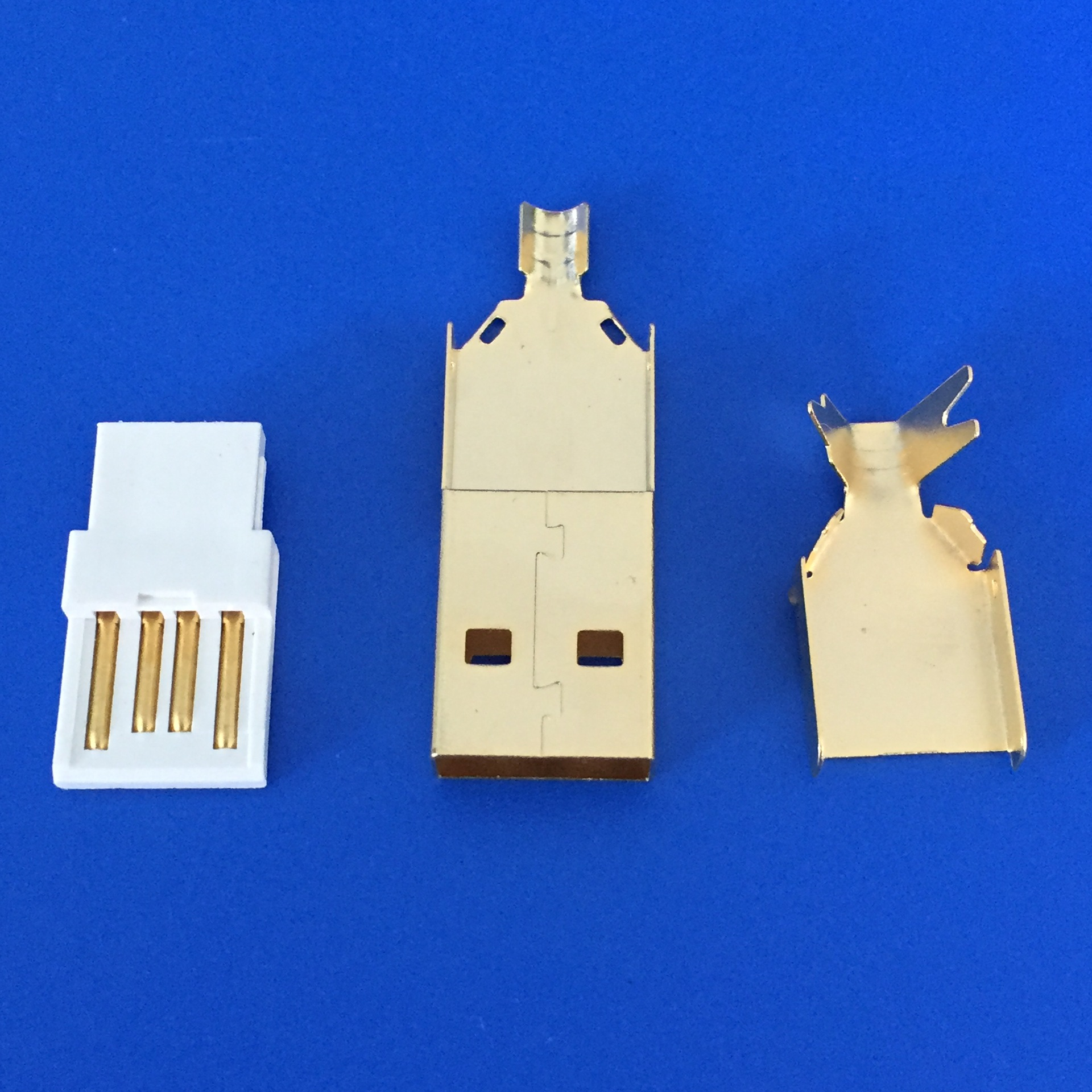 5pcs/lot Usb Connector Gold Plating DIY USB 2.0 A Type Male Plug Connector Wire Bonding