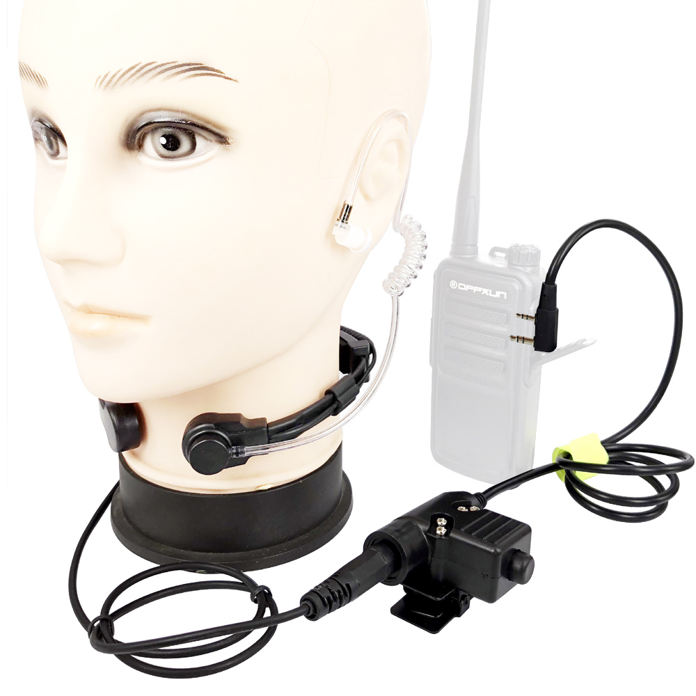 Walkie Talkie Microphone Heavy Duty U94 PTT Neck Throat Mic Earpiece Radio Nato Tactical Headset For Baofeng Kenwood HYT TYT