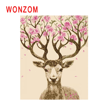 WONZOM Flower Deer Painting By Numbers Abstract Animal Oil Cuadros Decoracion Acrylic Paint On Canvas Modern Art Gift