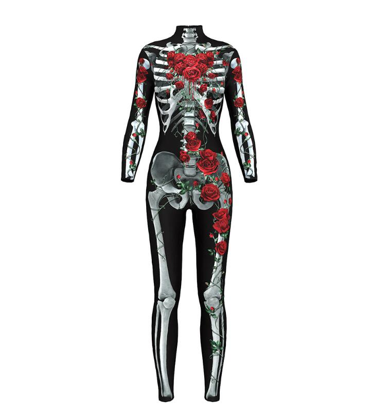 Women Sexy Bodysuits Halloween Costumes For Women 3D Skull Rose Printing Jumpsuits Punky Back Zipper