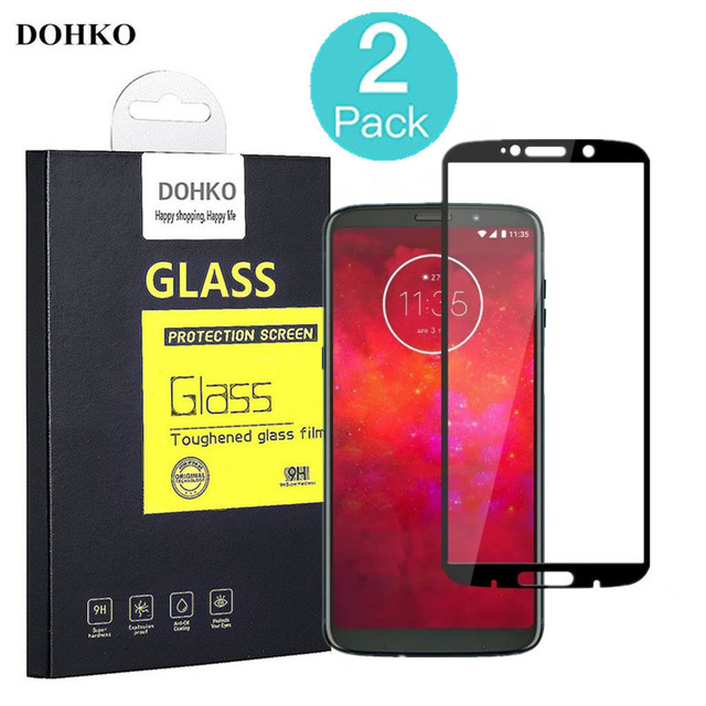 2 PACK DOHKO For Moto Z3 Play Tempered Glass 0.26mm 2.5D Full Cover Screen Protector For Moto Z3Play Prime 6.01 inch original