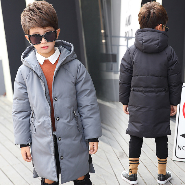 2018 Children overcoat Warm Winter Down Jacket Parkas for Teenage Coat Kids Boy clothes Windproof clothing Age 8 10 12 14 15 Yrs