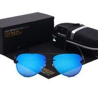 Tech Semi Rimless Aviator Sunglasses Silver Mirrored Clear Visibility Polarized Lens Men S Cool Driving Glasses