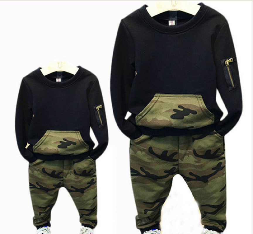 2018 New Spring Autumn Winter 2pcs Set Baby Cute Boys Long Sleeve Camouflage Tops Pants Clothing