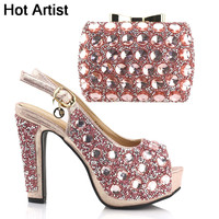Hot Artist Nigerian Rhinestone Shoes And Bag Set Italian Ladies High Heels Shoes And Bag Set