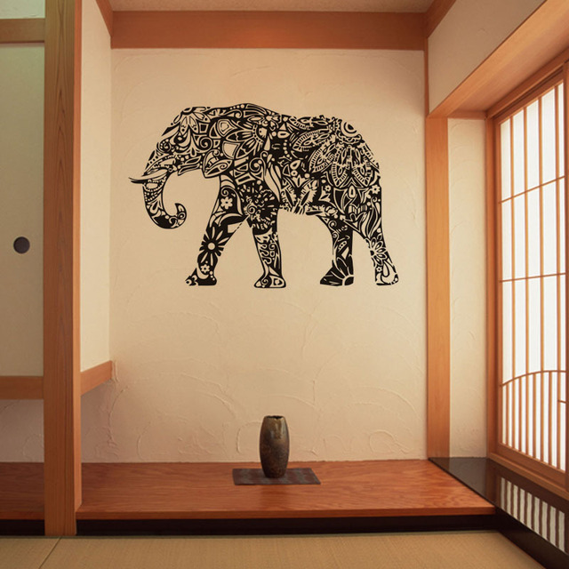 creative Personality 83*57cm Black India Holy Elephan Wall Stickers ...