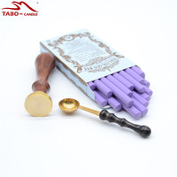 Customised Wooden Wax Stamp With Romantick Purple Sealing Wax Rod Sticks In Box For DIY Wedding