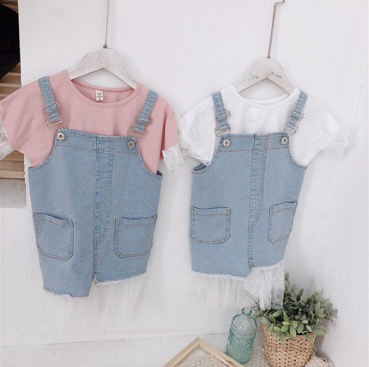 2019 new  girls  2 pcs set t-shirt+denim vest dress fashion cotton summer girls suit 2-7t HY14