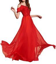 купить Chiffon With Beadings Women's Long Prom Dress Cold Shoulder Floor Length Evening Dress Vestidos De Festa по цене 6611.6 рублей