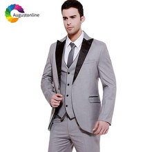 Formal Grey Wedding Suits for Men Black Lapel Best Man Blazers Jacket Slim Fit Groom Tuxedos with Pants 3 Pieces