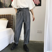 MIXCUBIC 2018 England style unique high waist design Suit pants men casual loose Fold suit pants for men trousers size M-XXL cheap Straight Full Length K186 Flat Midweight NONE Broadcloth REGULAR Zipper Fly