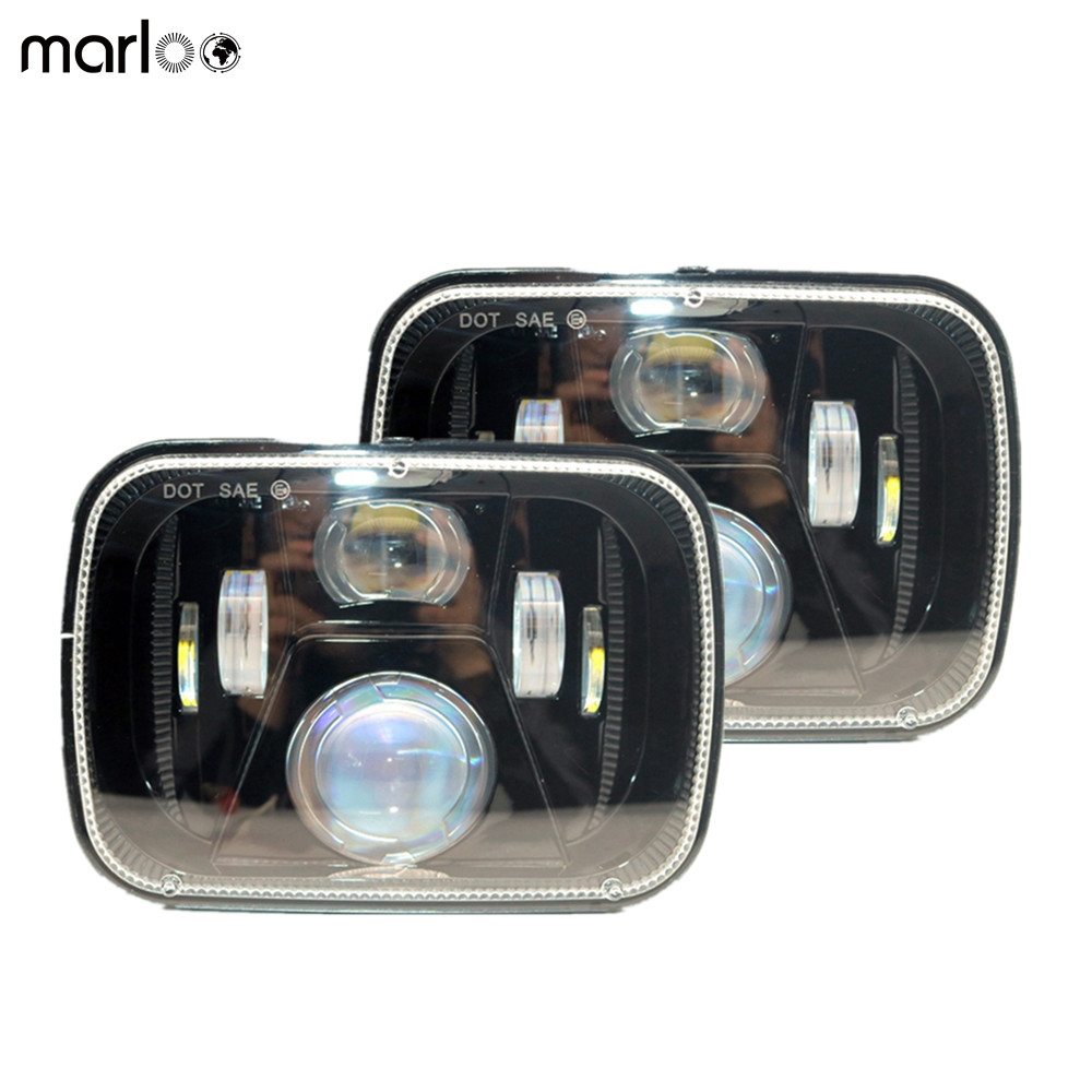 Marloo Pair 5x7 6x7 inch Rectangular 60W LED headlights For Jeep YJ Wrangler 87-95 XJ Cherokee 84-01 MJ Comanche 86-92 Truck pair 5x7 led headlight rectangular 6x7