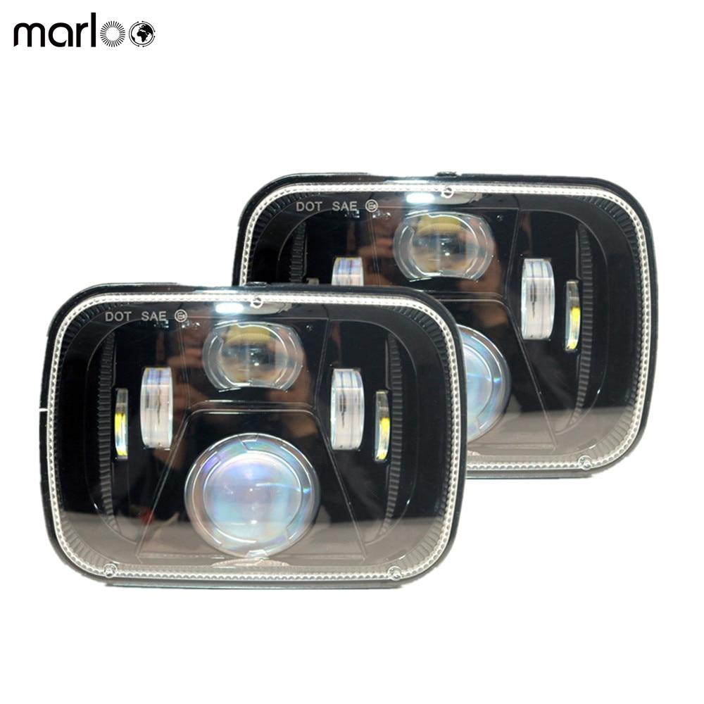все цены на Marloo Pair 5x7 6x7 inch Rectangular 60W LED headlights For Jeep YJ Wrangler 87-95 XJ Cherokee 84-01 MJ Comanche 86-92 Truck