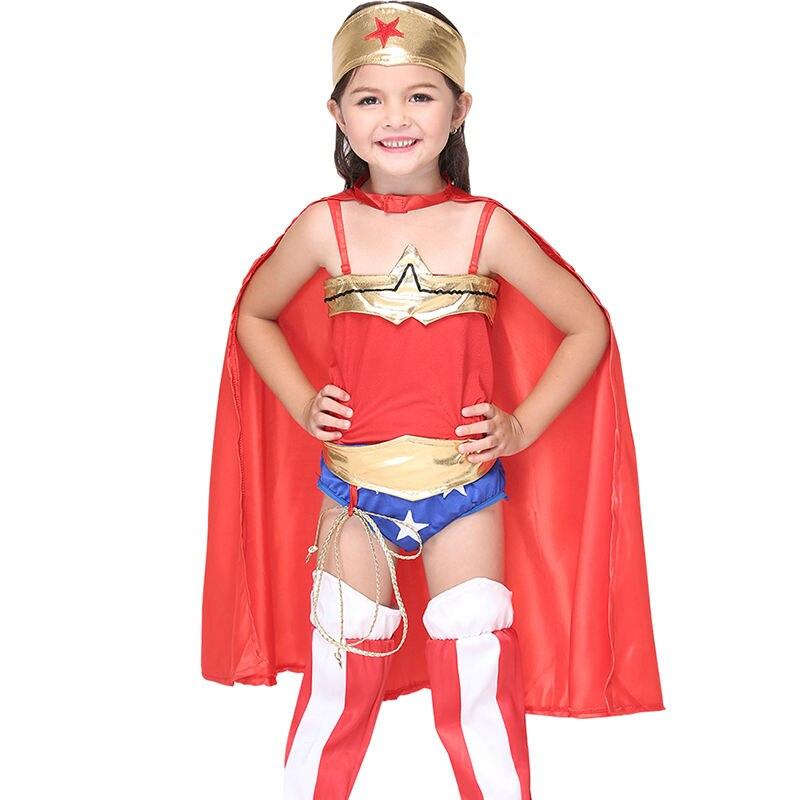 Carnaval Wonder Woman Costume For Kids Halloween Superman Performing Accessories Girls font b Anime b font
