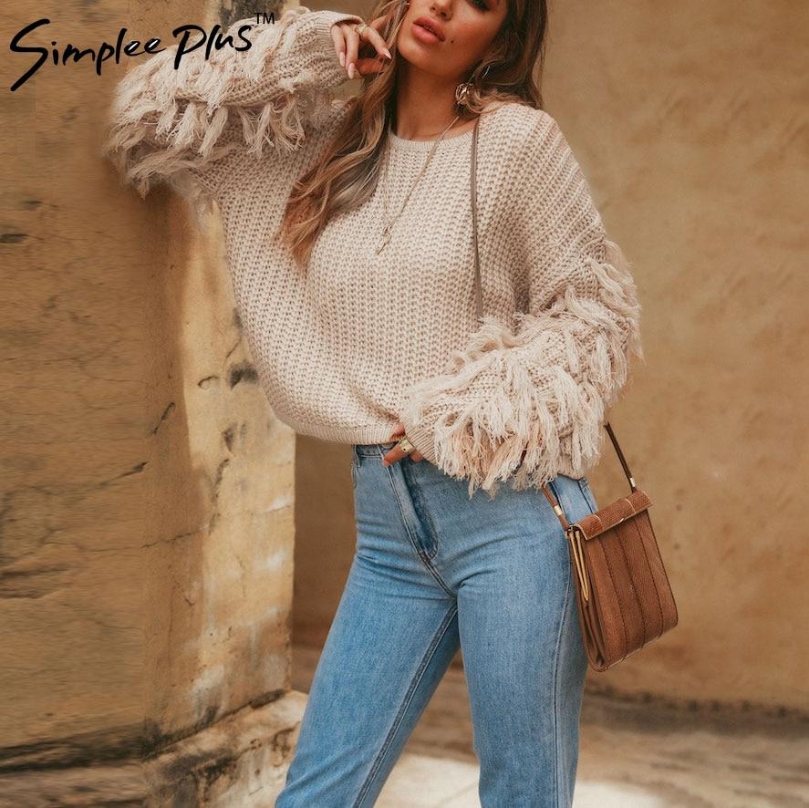 Simplee Plus  O neck winter sweater women long sleeve tassel casual pullover 2018 Autumn streetwear pull femme outerwear fashion 1