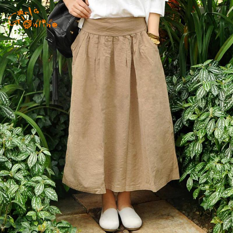 2018 Spring Summer England Style Girls Vintage Skirt Elastic Waist Linen Original Pleated Long Skirt New Art Women Long Skirts