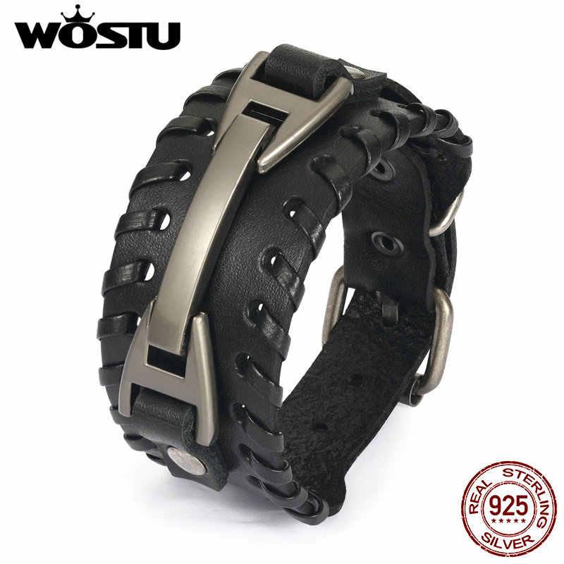 100% skórzana bransoletka w stylu Vintage Punk brązowy mankiet szerokie bransoletki dla kobiet mężczyzn biżuteria unisex prezent XCJ0339