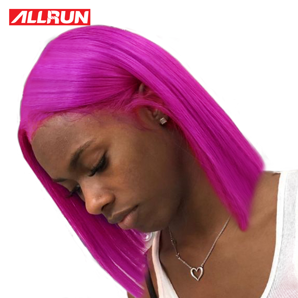 Purple Blonde Lace Front Wig Pre Colored Short Bob Wigs Remy Malaysia Human Hair Wig Transparent
