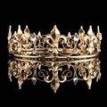 Оптовая Полный Круг Золотой Пром Аксессуары Короля мужская Корона Круглый Империал Средневековый Золото Горный Хрусталь Тиара