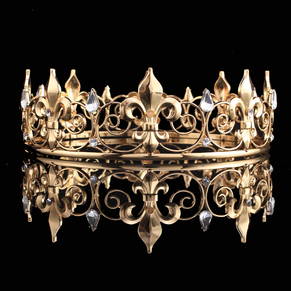 Venta al por mayor Full Circle Gold Prom Accessories King Men's Crown Round Imperial Medieval Gold Rhinestone Tiara