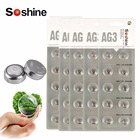 Newest Soshine 50pcs AG3 LR41 392 SR41 192 1.5V 35mAh Replacement Lithium Alkaline Watch Battery Button Cell Overload Protection