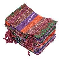 10 шт. Подарочная сумка для ювелирных изделий 10x14 см Фиолетовая Сумка для подарков с рисунком племени на шнурке украшения для дня рождения из цветного хлопка