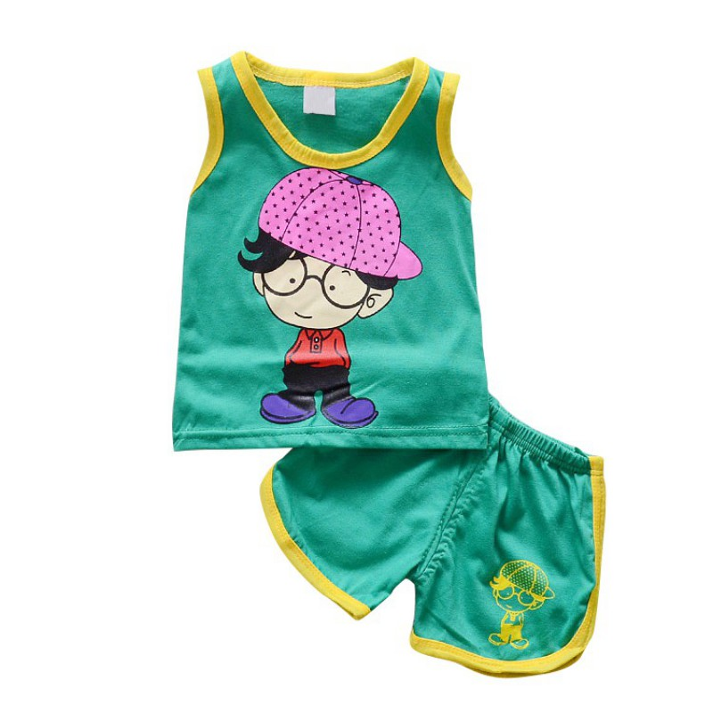 New Boys Girls Clothing Sets Cotton Suit Summer Sleeveless Vest Shorts 2pcs Suit Children Set 2018 Clothing Kids Baby Toddler