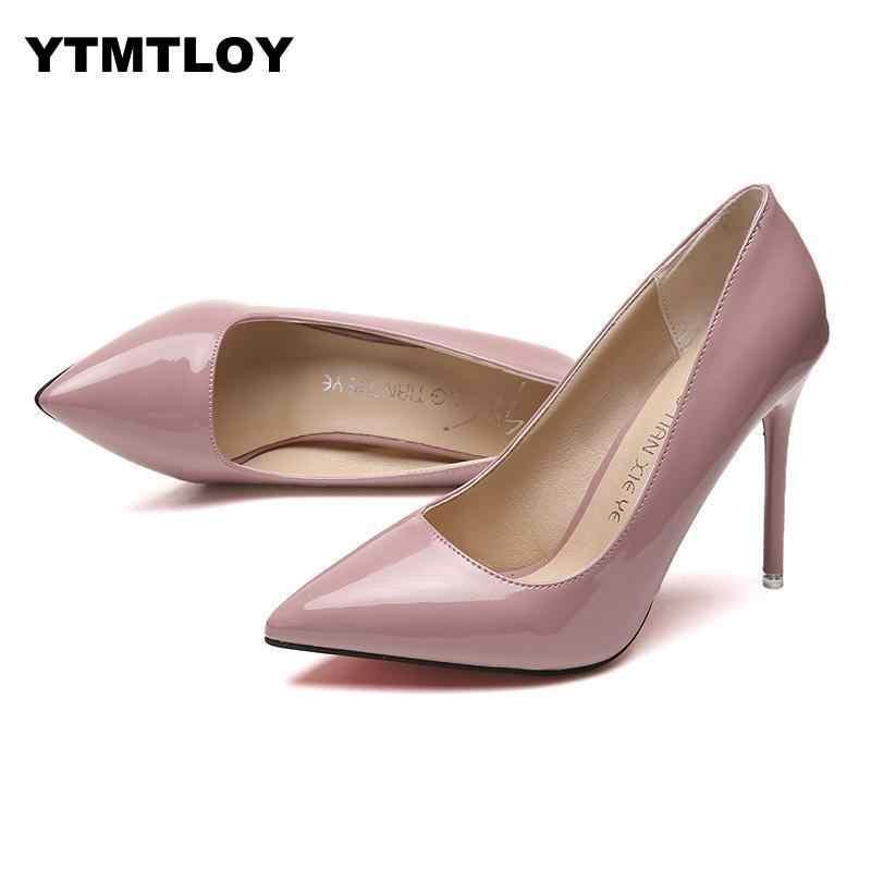 NÓNG Plus Size 34-44 NÓNG Nữ Giày Nữ Mũi Nhọn Bơm Bằng Sáng Chế Áo Da Cao Gót Xuồng Giày Cưới giày Zapatos Mujer
