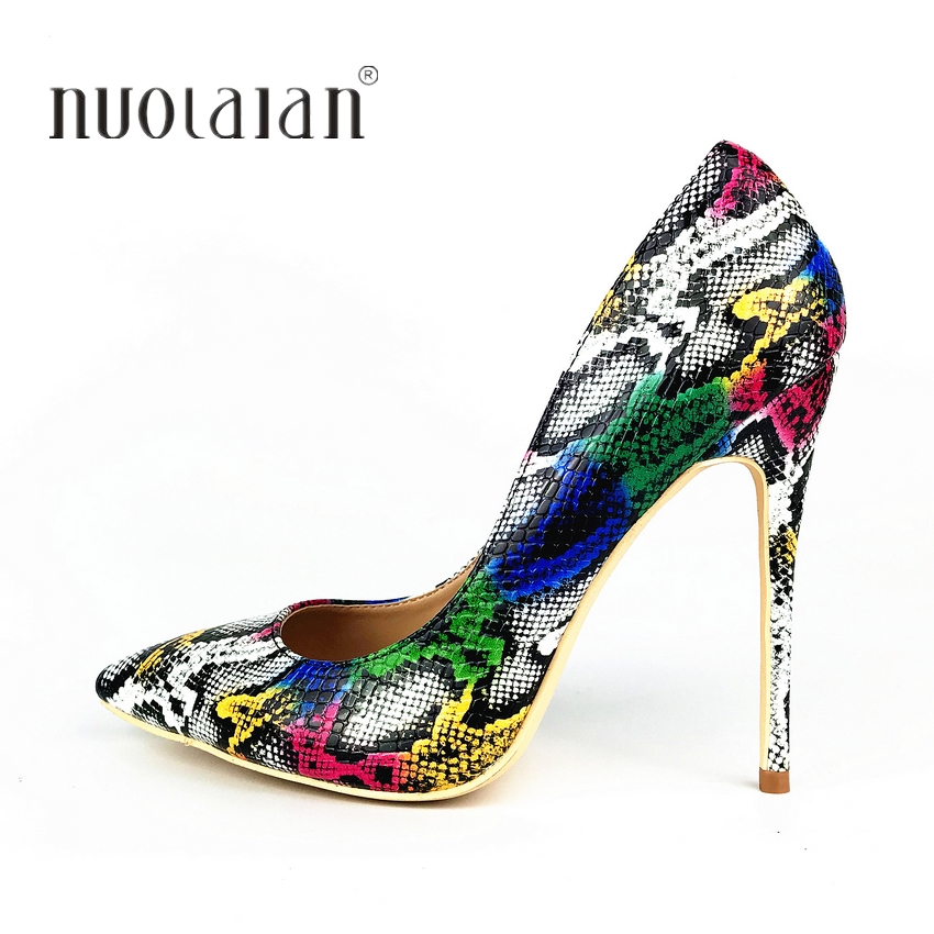 Autums Spring 2019 New Women Pumps Snake Pattern Mixed Color Ladies Sexy Wedding High Heel Shoes Woman Party Wedding PumpsAutums Spring 2019 New Women Pumps Snake Pattern Mixed Color Ladies Sexy Wedding High Heel Shoes Woman Party Wedding Pumps