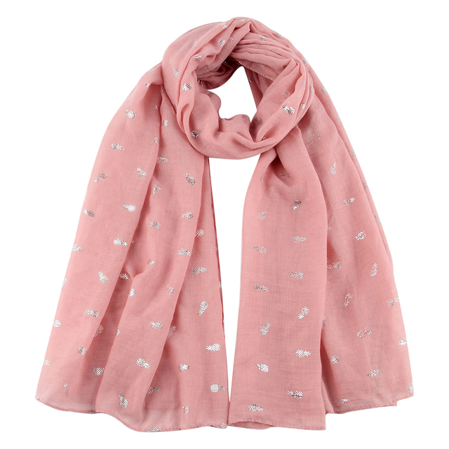 FOXMOTHER New Women Fashionable Pink Sky Blue Mint White Yellow Color Foil Sliver Pineapple Scarves For Ladies