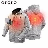 ORORO Ветровка мужская куртка на молнии и с капюшоном с подогревом с перезаряжаемой батареей 4400mAh Толстовка Бомбер Флисовая кофта Пальто серы