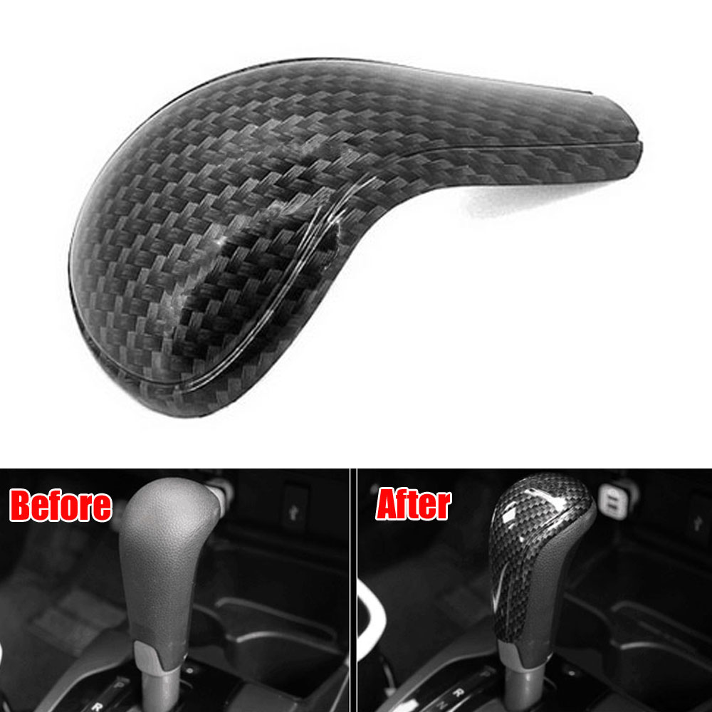 1Pc ABS Car Console Brake Gear Shift Knob Top Shifter Shell Cover Trim Carbon Fiber Style Sticker For 2014 Honda Jazz Fit car acessories carbon fiber interior cover trim fit for bmw all models hand brake knob with m logo car styling
