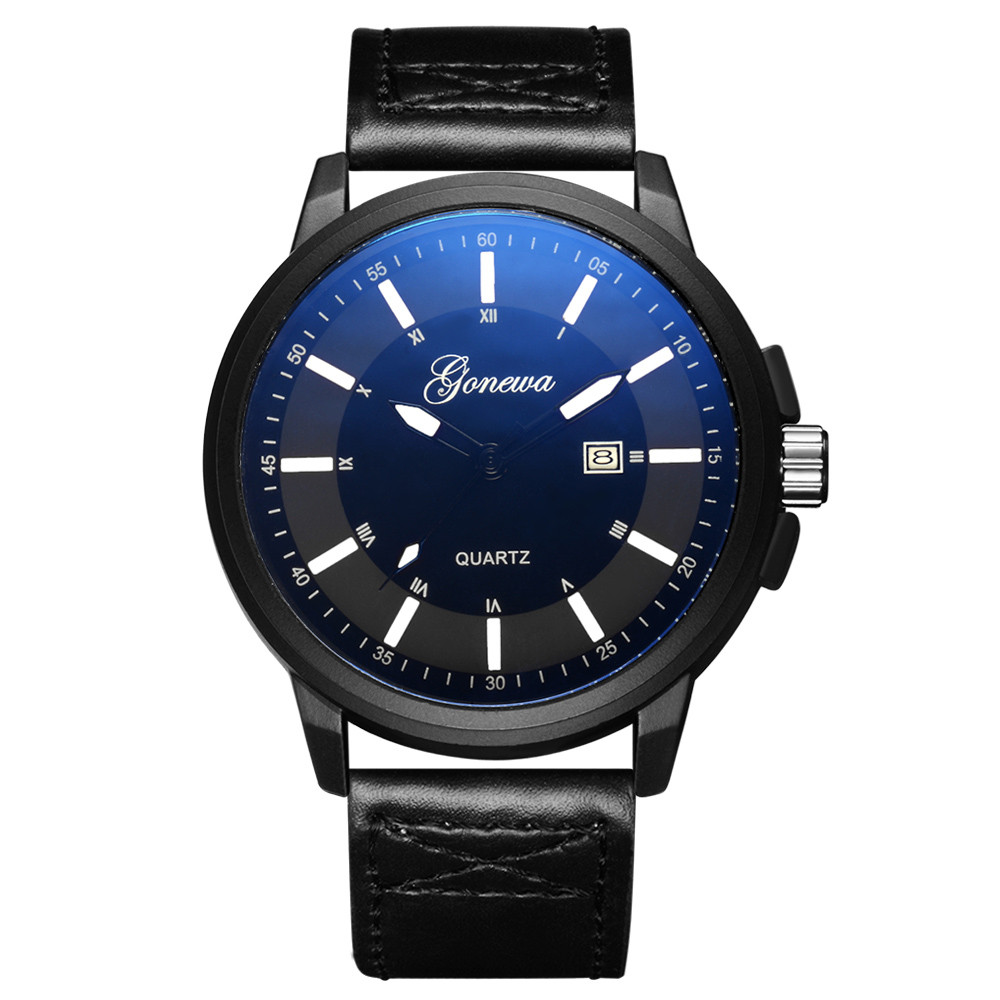 fashion casual watches GONEWA Men Date Stainless Steel Leather Analog Quartz Sport Wrist Watch fashion curren men date stainless steel leather analog quartz sport wrist watch