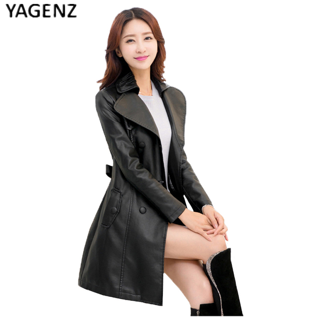 d55041bd97abd Women Faux Leather Jackets Coat 2017 New Fashion Long section turn-down  collar Faux Leather
