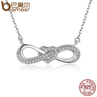 BAMOER 100 925 Sterling Silver Infinity Love Clear CZ Heart Women Pendant Necklaces Luxury Fine Jewelry