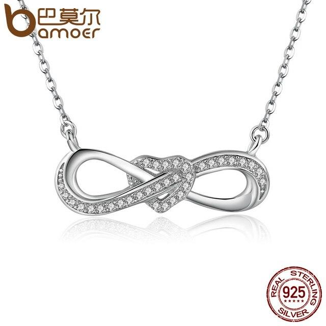 f91124bb7b8e BAMOER 100% de 925 de plata esterlina infinito amor claro CZ corazón  mujeres colgante collares