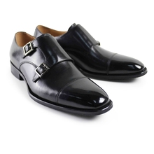 2017 Italy Men Flat Classic Black Custom Mens Monk Shoes Formal Dress Wedding Party Business Genuine Leather Original Design