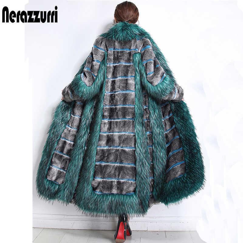 Nerazzurri/женская зимняя мода 2019, роскошное подиумное пальто из искусственного меха, цветная блочная пушистая теплая поддельная норковая шубка, большие размеры 5xl
