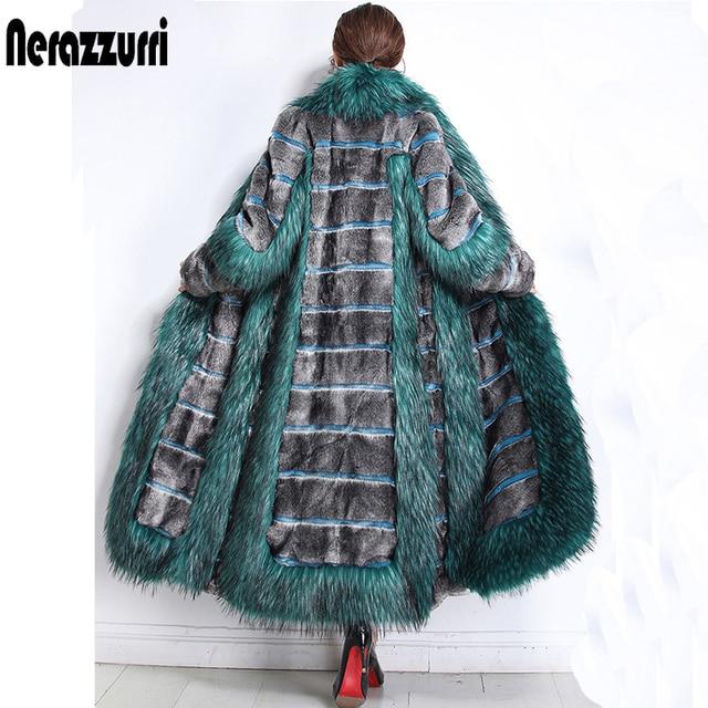 Nerazzurri Womens winter fashion 2019 luxe runway faux bontjas kleur blok pluizige furry warm fake mink overjas plus size 5xl